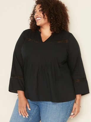 Old Navy Plus-Size Lace-Trim Pintuck Blouse