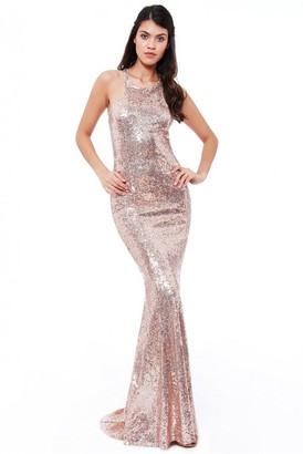 Goddiva Bow Detail Sequin Maxi Dress - Champagne