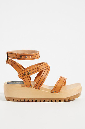 Swedish Hasbeens Jess Platform Sandals By in Brown Size 38