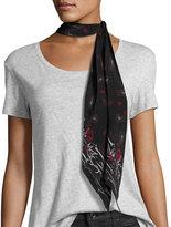 Rockins Scarves Paisley Super Skinny Silk Scarf, Black