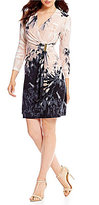 Calvin Klein 3/4-Sleeve Printed Faux-Wrap Dress