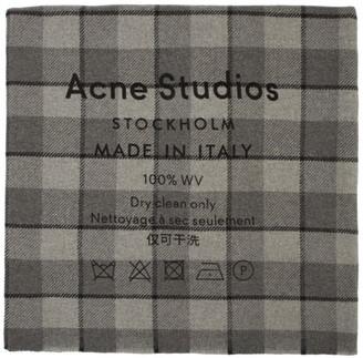 Acne Studios Grey Check Logo Scarf