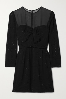 Saint Laurent Chiffon-trimmed Crystal-embellished Crepe Mini Dress - Black