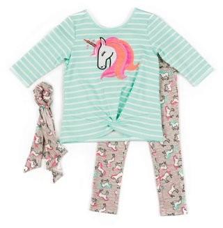 Little Lass Toddler Girl Unicorn Top, Leggings, & Headband, 3pc Outfit Set