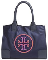 Tory Burch Ella Beaded Logo Nylon Mini Tote - Blue