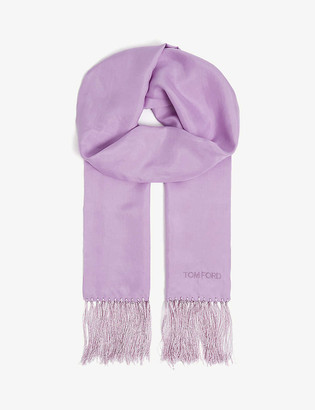 Tom Ford Fringed brand-embroidered silk scarf