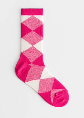 And other stories Diamond Check Ankle Socks