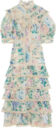 Zimmermann Verity Scallop Tiered Floral-print Cotton And Silk-blend Midi Dress