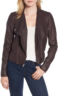 Andrew Marc Feather Leather Moto Jacket