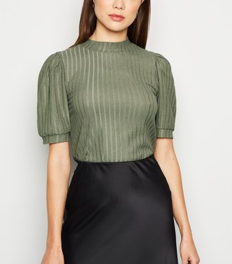 New Look Ribbed Short Puff Sleeve Top
