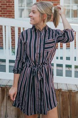 francesca's Jules Stripe Shirt Dress - Black