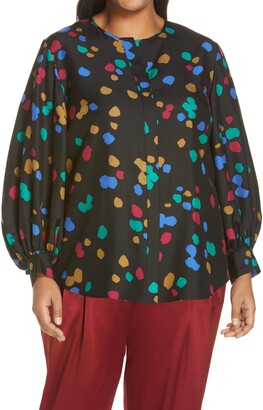 Lafayette 148 New York Sicilia Scatter Dot Print Silk Blouse