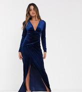 TFNC velvet maxi wrap dress in midnight