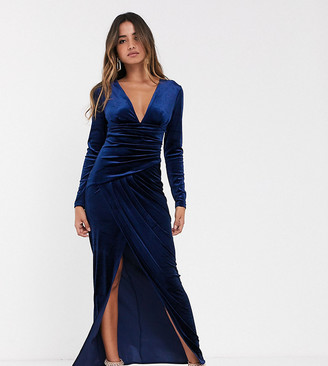 TFNC velvet maxi wrap dress in midnight