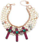 Betsey Johnson Two-Tone Multi-Stone Skull, Cross & Imitation Pearl Statement Necklace