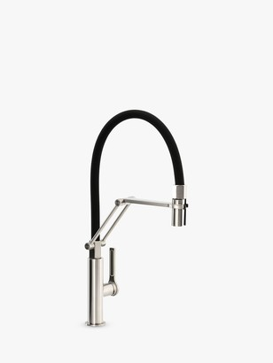 Abode Hex Professional Pull-Around Spray Single Lever Kitchen Mixer Tap, Brushed Nickel/Black
