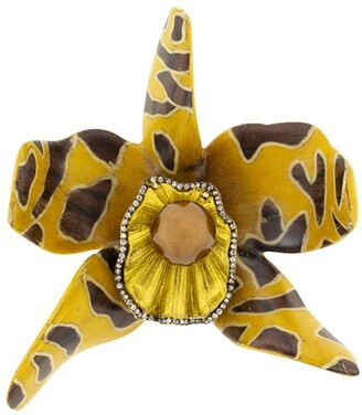 Silvia Furmanovich 18kt yellow gold diamond Sculptural Botanical Marquetry Spotted Orchid brooch