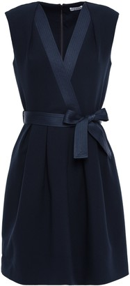 Claudie Pierlot Rank Belted Pleated Crepe Mini Dress