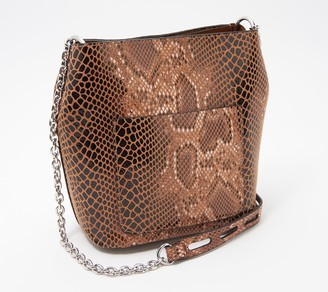 Sondra Roberts Snake Embossed Faux Leather Bucket Bag