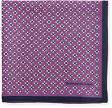 Ermenegildo Zegna Geometric Cross Silk Pocket Square, Purple