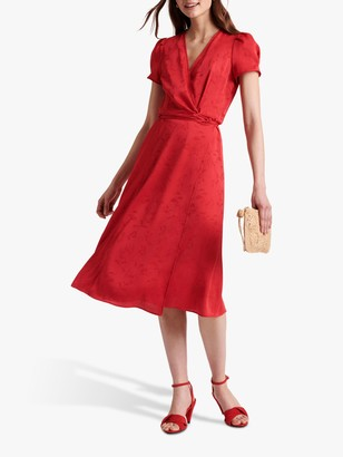 Gerard Darel Sara Floral Print Midi Dress, Red