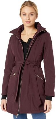 GUESS Women's Belted Softshell Jacket with Hood
