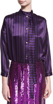 Nina Ricci Striped Tie-Neck Bodysuit, Purple