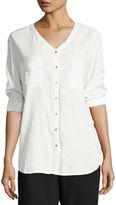 Eileen Fisher V-Neck Organic Cotton Gauze Pocket Shirt, Plus Size