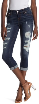 True Religion Halle Distressed Skinny Capri Jeans
