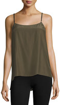 ATM Anthony Thomas Melillo Scoop-Neck Satin Camisole w/ Velvet Straps