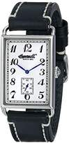 Ingersoll Men's Quartz Watch with White Dial Analogue Display and Black Leather Strap INQ005SLBK