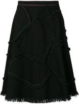 Sonia Rykiel fringe detail A-line skirt - women - Cotton/Spandex/Elastane - 36