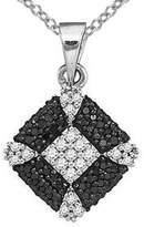 "Pretty Jewellery 14K White Gold Fn S925 W/ White & Sim Diamond Kite Shape Pendant W/ 18"" Chain"