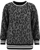 R 13 Leopard-Print Knitted Sweater