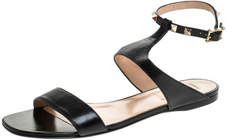 Valentino Black Leather Rockstud Ankle Strap Flat Sandals Size 39.5