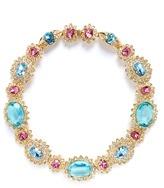 Kenneth Jay Lane Crystal pavé glass stone floral necklace