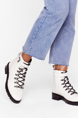 Nasty Gal Womens Slide into My D-Rings Leather Hiker Boots - White