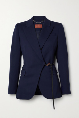 Altuzarra Irving Belted Wool-blend Blazer - Midnight blue