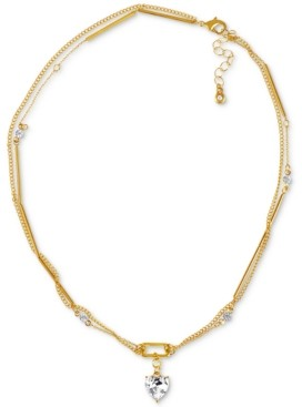 "Rachel Roy Gold-Tone Crystal Heart Double-Row Pendant Necklace, 16"" + 3"" extender"