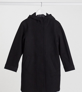 ASOS DESIGN Petite textured hood coat in black