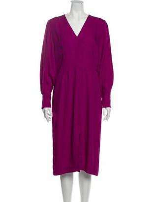 Judith & Charles V-Neck Midi Length Dress Pink
