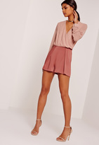 Missguided Satin Pleat Front Shorts Pink