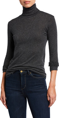 Majestic Filatures Cotton-Cashmere Long-Sleeve Turtleneck Tee