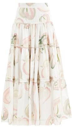 Aje Imprint Floral-print Cotton-poplin Maxi Skirt - White Print