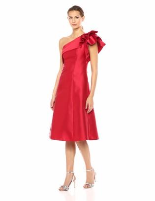 Adrianna Papell Women's One Shoulder Ruffle Sleeve Tea Length Mikado Dress
