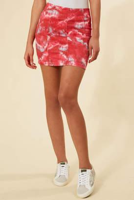 Free People Red Tie Dye Modern Femme Denim Mini Skirt Red Multi 0