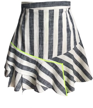 Mirimalist Flirty Striped Mini Ruffle Skirt
