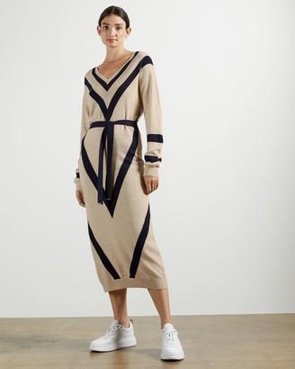 Ted Baker Chevron Detail Knitted Midi Dress