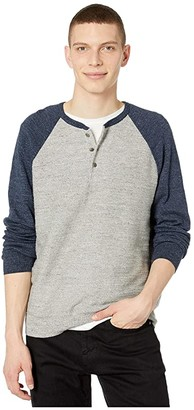 J.Crew Rugged Cotton Henley (Color Block Heather Indigo Grey) Men's Clothing