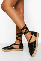 Thumbnail for your product : boohoo Quilted Wrap Up Espadrille